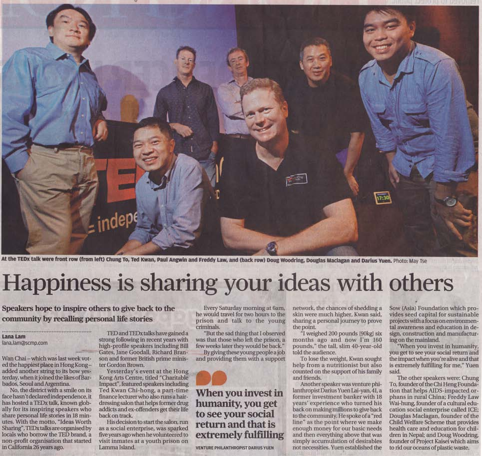 Article in SCMP about Fraddy giving a Tedx Talk