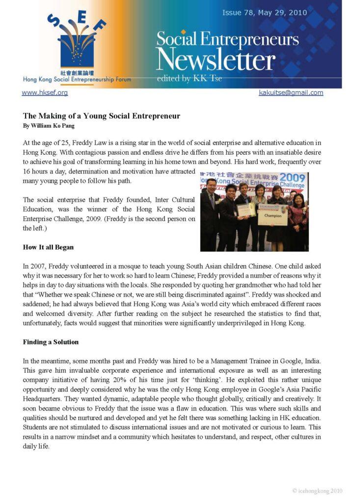Social Entrepreneurs Newsletter