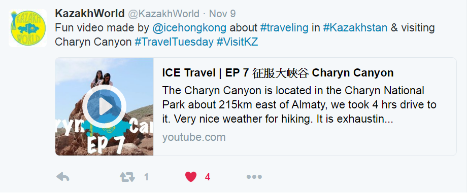 ICE YouTube travel video has been shared and liked by KazakhWorld on Twitter!