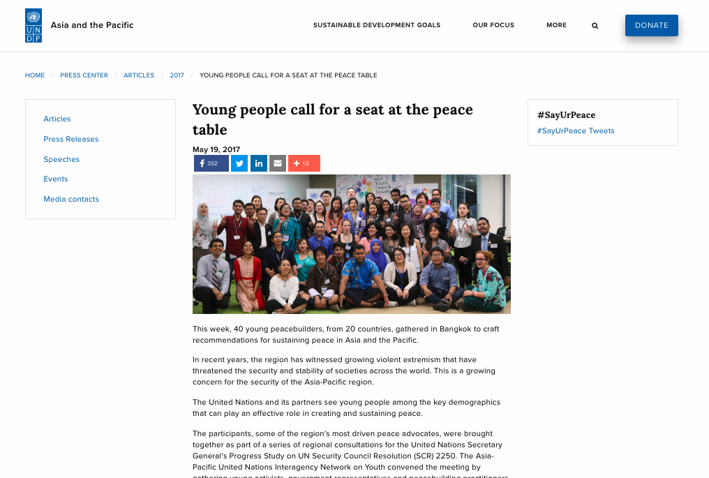 Aggie being invited to be the China Representative for Youth, Peace & Security Asia and the Pacific Regional Consultation organised by the United Nations